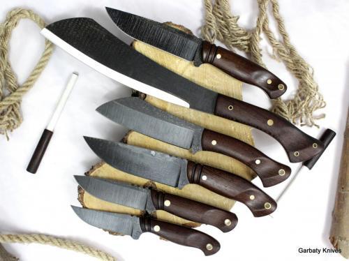 Drewno Wenge. Od góry:Hunter, Parang, Mini Parang Camper, Traper, Jeleń